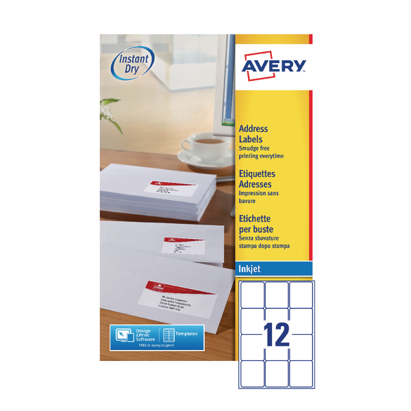 Avery Inkj Label 63.5x72mm 12 Per Sheet White (Pack of 1200) J8164-100