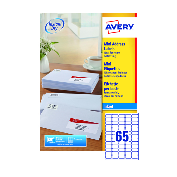 Avery Inkjet Mini Labels 38.1x21.2mm 65 Per Sheet White (Pack of 6500) J8651-100