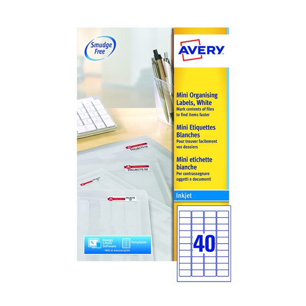 Avery Inkj Mini Label 45.7x25.4mm 40 Per Sheet (Pack of 1000) J8654-25