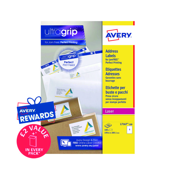 Avery Ultragrip Laser Labels 199.6x289.1mm Wht (Pack of 100) L7167-100