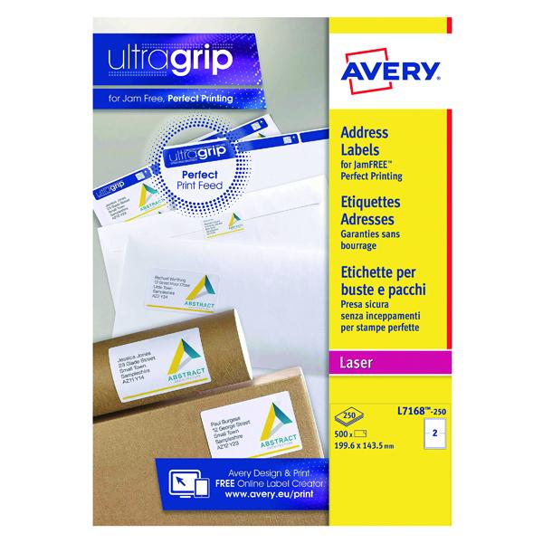 Avery Ultragrip Laser Labels 199.6x143.5mm Wht (Pack of 500) L7168-250