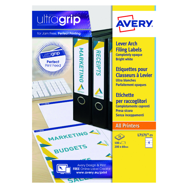 Avery Laser Inkj Lever Arch Labels 200x60mm Wht (Pack of 100) L7171-25