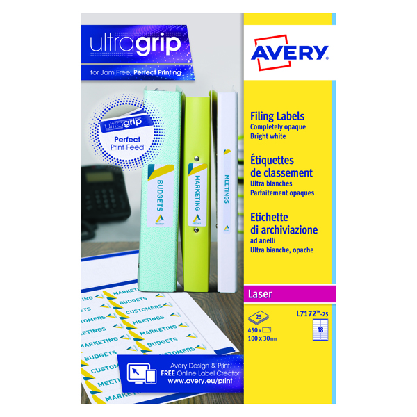 Avery Laser Ring Binder Label 100mmx30mm White (Pack of 450) L7172