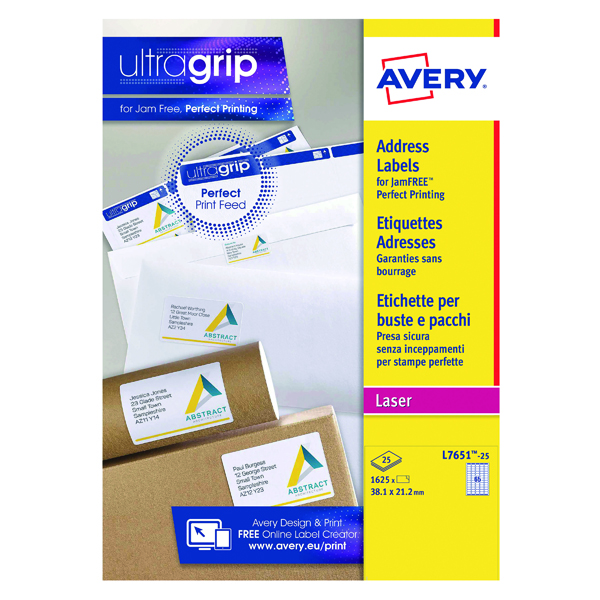 Avery Laser Labels 38.1 x 21.2mm White (Pack of 1625) L7651-25