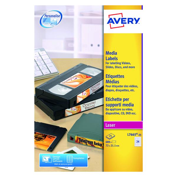 Avery Mini Data Cartridge Label 72x21.15mm White(Pack of 600) L7665-25