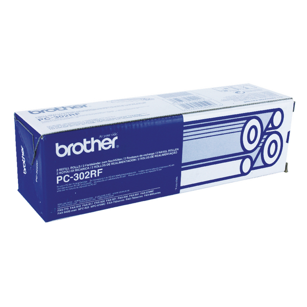 Brother Black Thermal Transfer Film Ribbon (Pack of 2) PC302RF