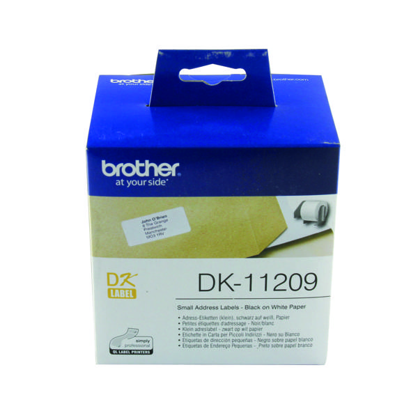 Brother Black on White Paper Small Address Labels (Pack of 800) DK11209