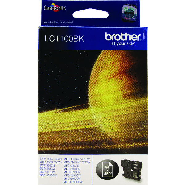 Brother LC1100BK Black Inkjet Cartridge (450 page capacity) LC-1100BK