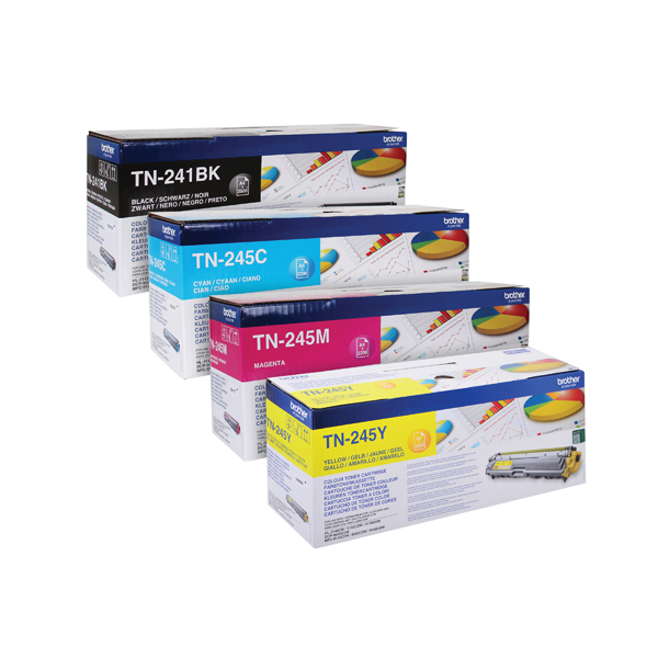 Brother TN245 Toner Cartridge Bundle Cyan/Magenta/Yellow/Black (Pack of 4) BA810615
