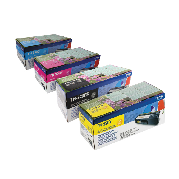 Brother TN320 Toner Cartridge Bundle Cyan/Magenta/Yellow/Black (Pack of 4) BA810617