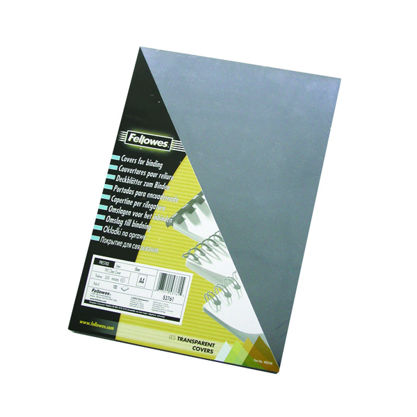 Fellowes Transpsarent Plastic Covers 150 Micron (Pack of 100) 5376001