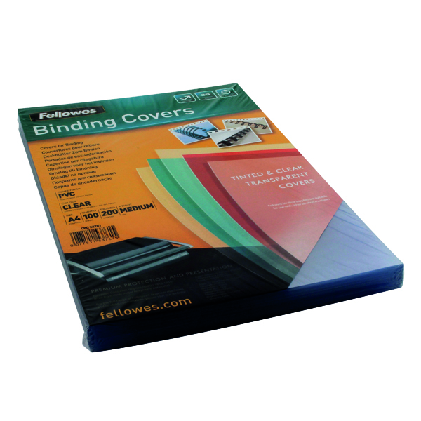 Fellowes Transpsarent Plastic Covers 200 Micron (Pack of 100) 5376101