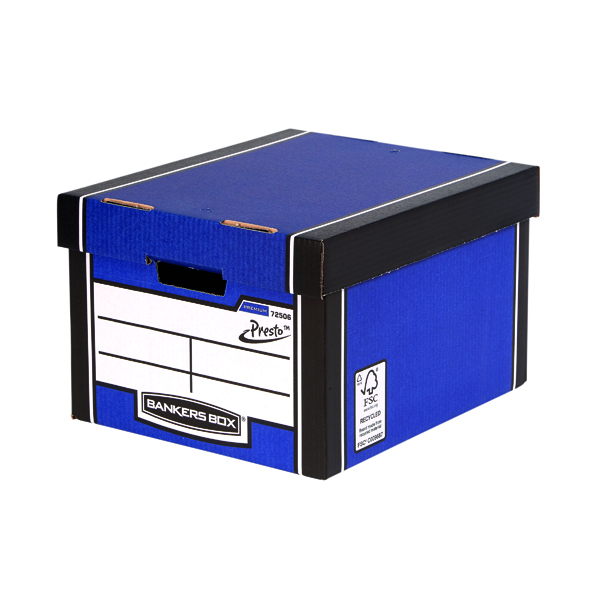 Fellowes Bankers Box Premium Presto Classic Storage Box Blue (Pack of 10+2) 7250601