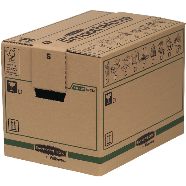 Fellowes Bankers Box Moving Box Small Brown Green (Pack of 5) 6205201