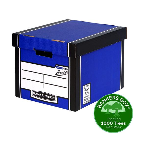 Fellowes Bankers Box Premium Presto Storage Box Blue/White (Pack of 12) 7260601
