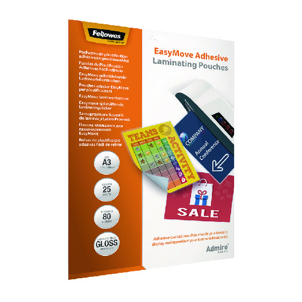 Fellowes Admire EasyMove A3 Laminating Pouches (Pack of 25) 5601801