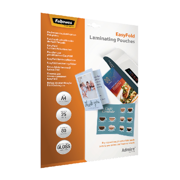 Fellowes Admire EasyFold A4 Laminating Pouches (Pack of 25) 5601901