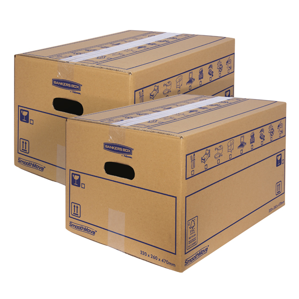 Bankers Box SmoothMove Standard Moving Box 320x260x470mm (Pack of 10) BOGOF