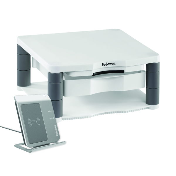 Fellowes Premium Monitor Riser Plus White (Contains storage drawer and built in copyholder) 9171302