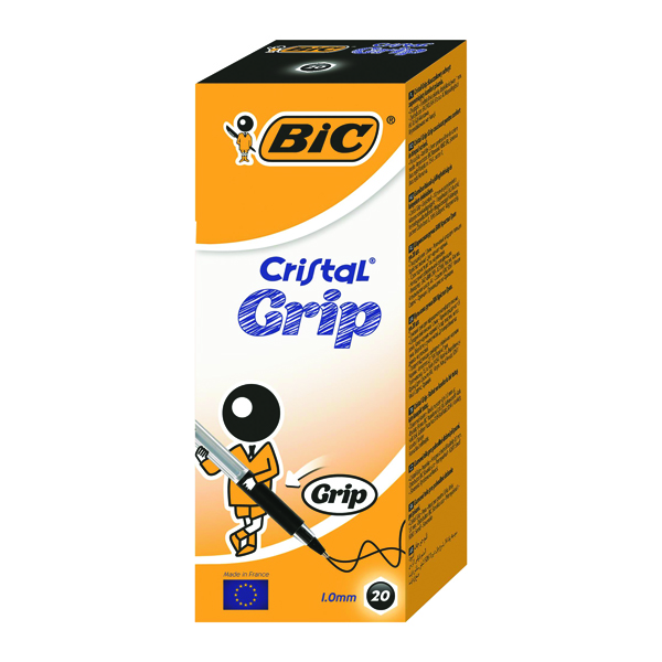 Bic Cristal Grip Ballpoint Pen Medium Black (Pack of 20) 802800
