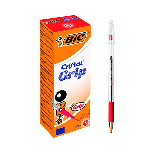 Bic Cristal Grip Ballpoint Pen Medium Red (Pack of 20) 802803