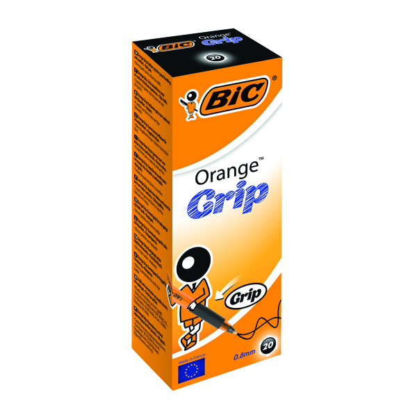 Bic Orange Cristal Grip Ballpoint Pen Black (Pack of 20) 811925