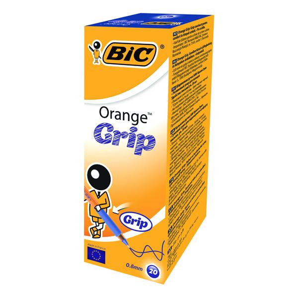 Bic Orange Cristal Grip Ballpoint Pen Blue (Pack of 20) 811926