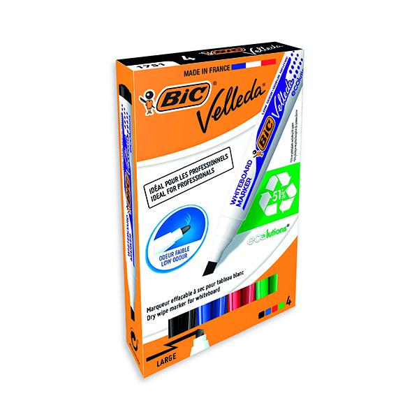 Bic Velleda 1751 Drywipe Marker Assorted (Pack of 4) 1199001754