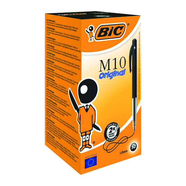 Bic M10 Clic Ballpoint Pen Medium Black (Pack of 50) 901256