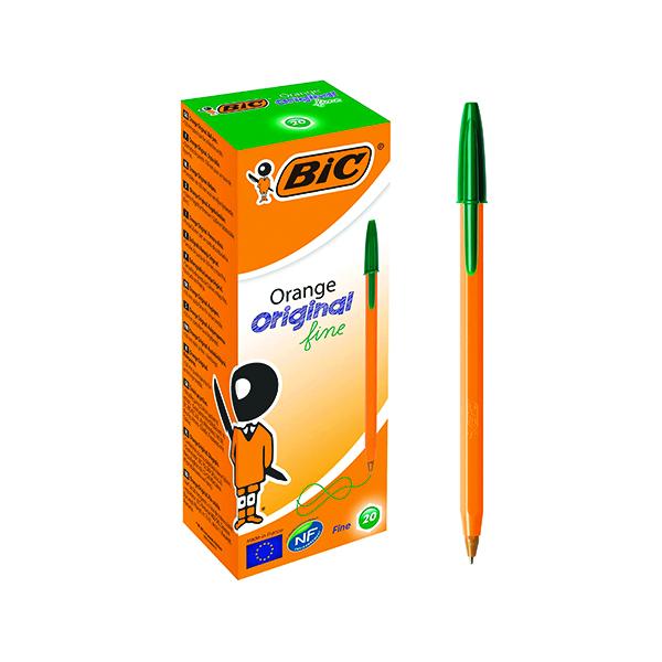 Bic Orange Fine Ballpoint Pen Green (Pack of 20) 1199110113