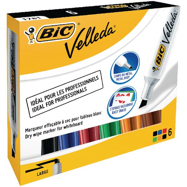 Bic Velleda 1781 Drywipe Assorted Marker (Pack of 6) 875788
