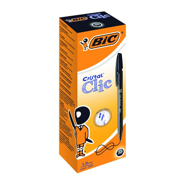 Bic Cristal Clic Ballpoint Pen Medium Black (Pack of 20) 850732