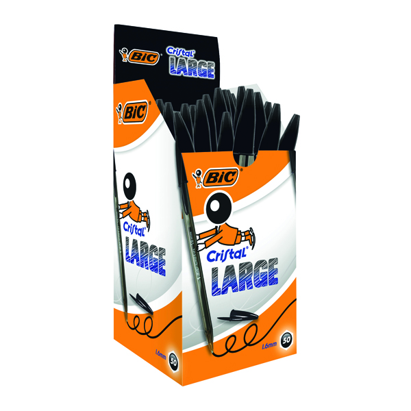 Bic Cristal Large Ballpoint Pen 1.6mm Black (Pack of 50) 880648