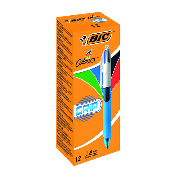 Bic 4 Colours Comfort Grip Ballpoint Pen (Pack of 12) 8871361