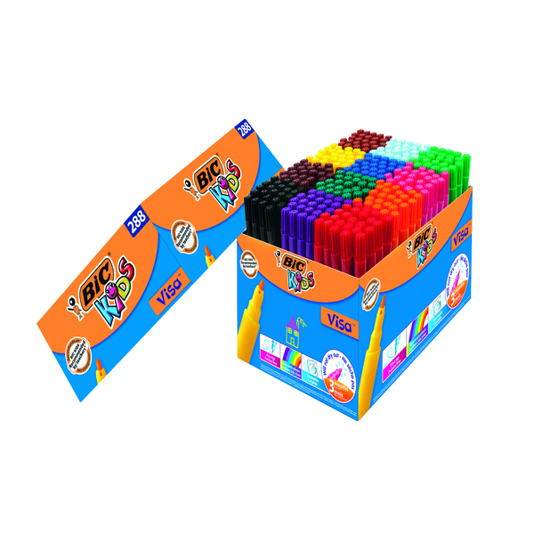 Bic Kids Visa Felt Pens Fine Tip Assorted (Pack of 288) 897099