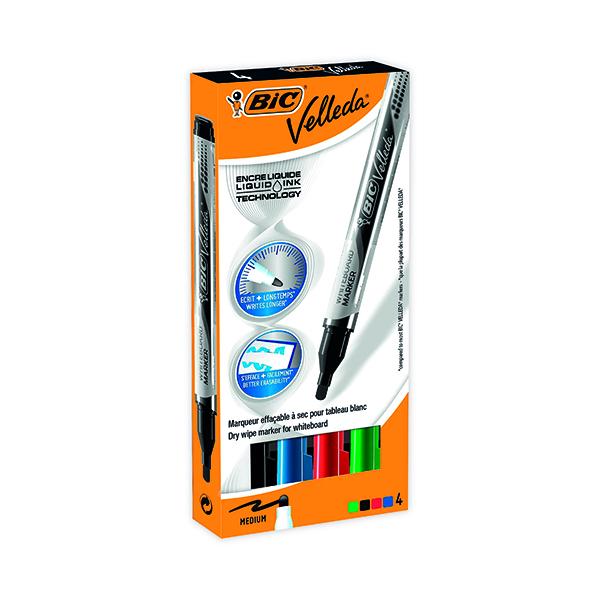 Bic Velleda Liquid Ink Drywipe Marker Assorted (Pack of 4) 902094