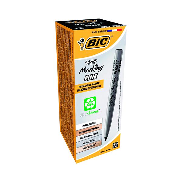 Bic Pocket Permanent Marker Bullet Tip Black (Pack of 12) 8209021