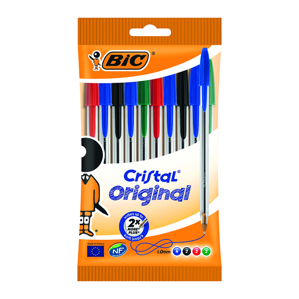 Bic Cristal Ballpoint Pen Medium Assorted (Pack of 10) 830865
