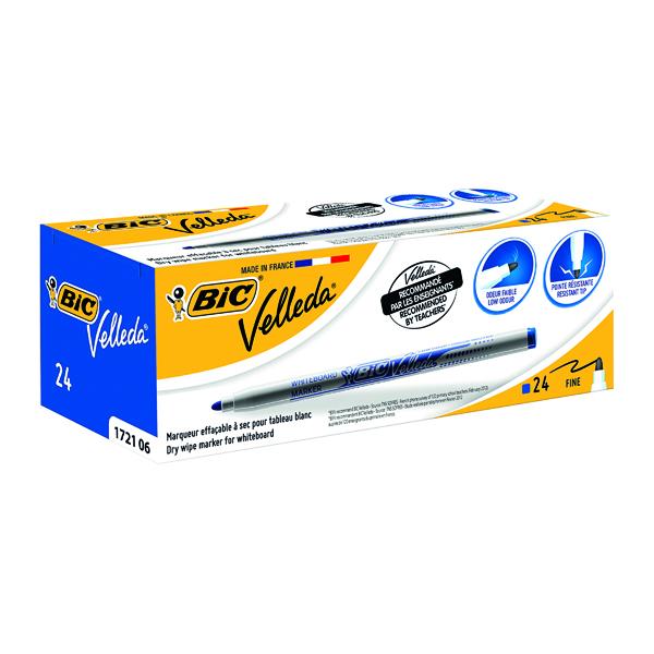 Bic Velleda 1721 Whiteboard Marker Fine Blue (Pack of 24) 841841