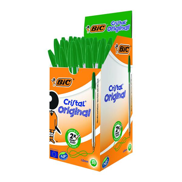 Bic Cristal Ballpoint Pen Medium Green (Pack of 50) 8373629