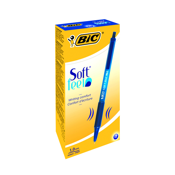 Bic SoftFeel Clic Retractable Ballpoint Pen Blue (Pack of 12) 837398