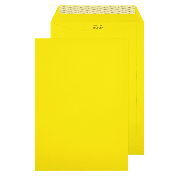 C4 Pocket Envelope Peel and Seal 120gsm Banana Yellow (Pack of 250) 403P