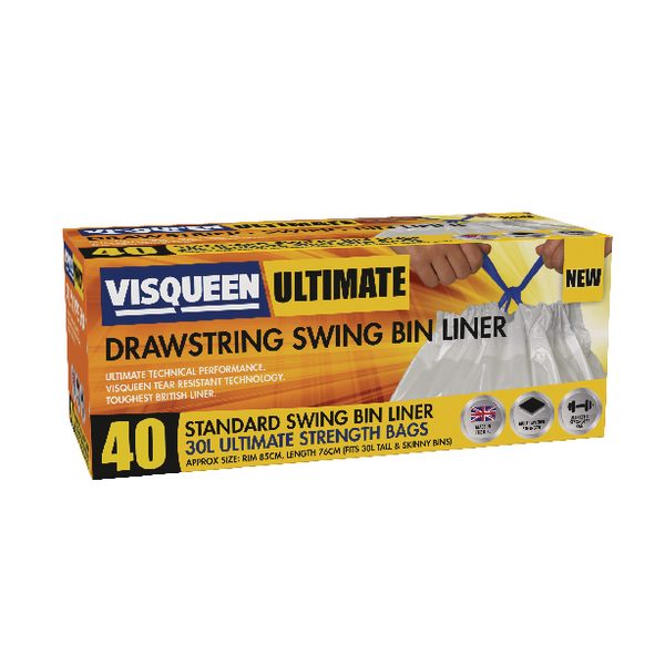 Visqueen Ultimate Drawstring Swing Bin Liner 30 Litre White (Pack of 40) RS057767