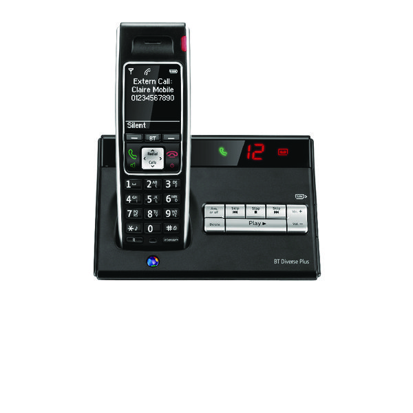 BT Diverse 7450 R DECT Cordless Phone With Answer Machine Black 060746
