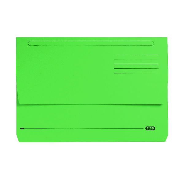 Elba Strongline Document Wallet Bright Manilla Foolscap Green (Pack of 25) 100090268