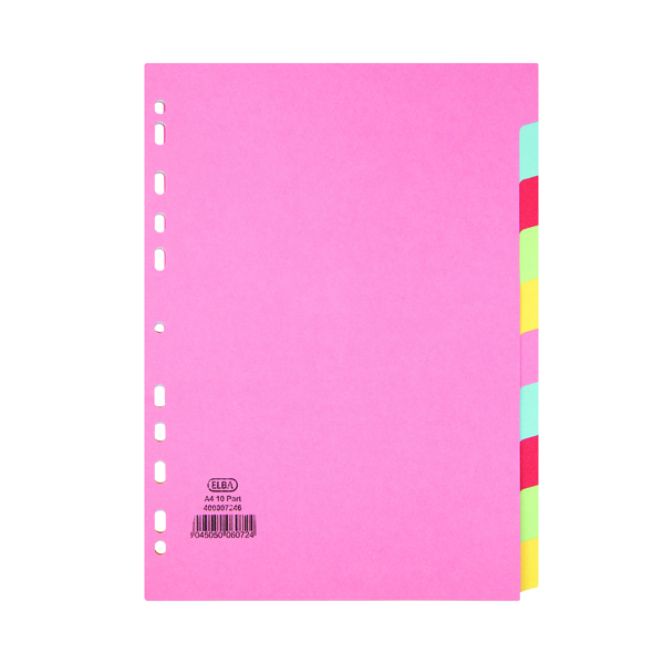 Elba-10 Part Card Divider A4 Assorted (Made from 100% recycled 160gsm manilla) 100080806