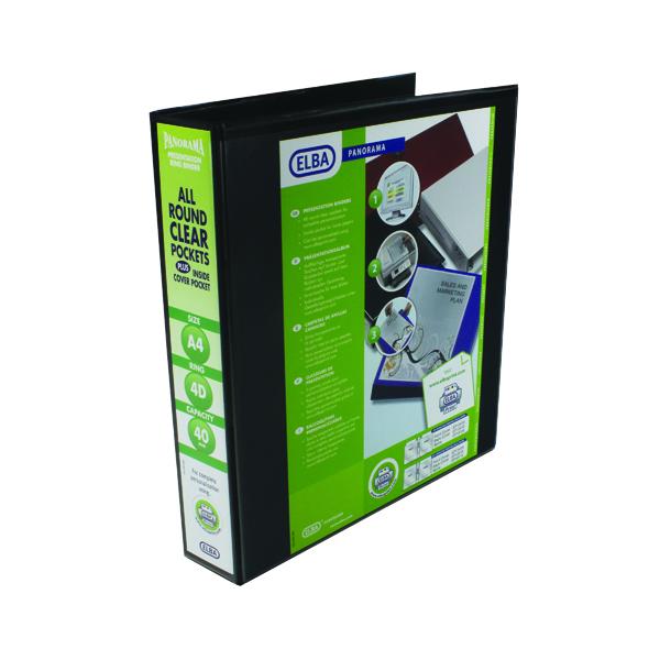 Elba Panorama 40mm 4 D-Ring Presentation Binder A4 Black (Pack of 6) 400008417