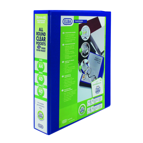 Elba Panorama 40mm 4 D-Ring Presentation Binder A4 Blue (Pack of 6) 400008418
