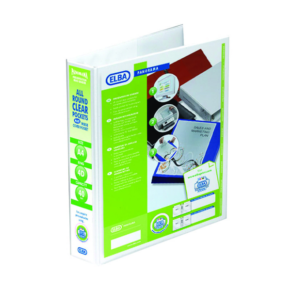 Elba Panorama 40mm 4 D-Ring Presentation Binder A4 White 400008419