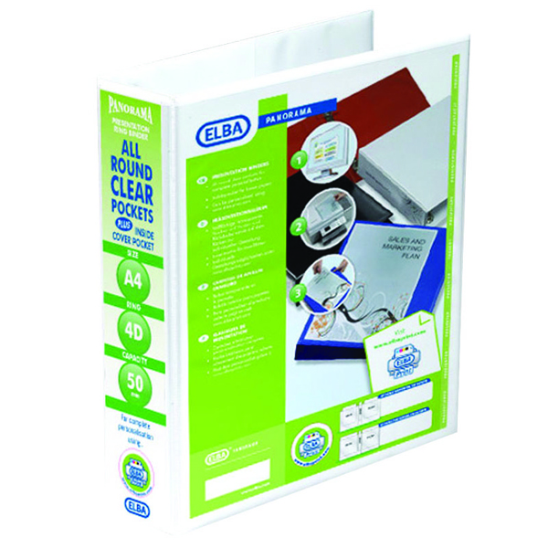 Elba Panorama 50mm 4 D-Ring Presentation Binder A4 White 400001309